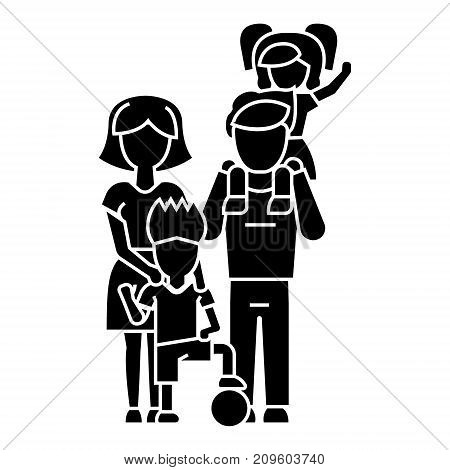 family, father, mother, son  icon, vector illustration, black sign on isolated background