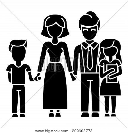 family, son, mother, father, daughter  icon, vector illustration, black sign on isolated background
