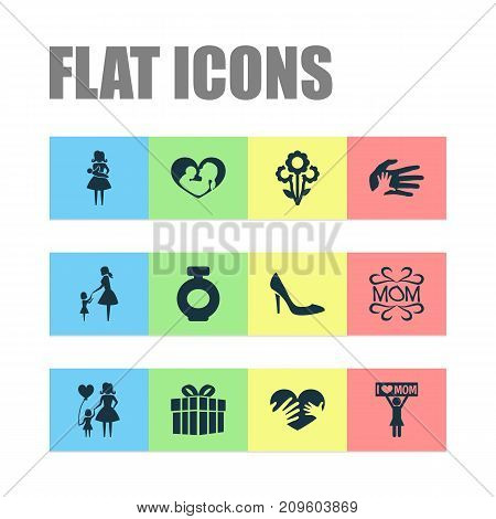 Mothers Day Icon Design Concept. Set Of 12 Such Elements As Child, Helping And Gift