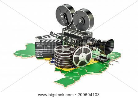 Brazilian cinematography film industry concept. 3D rendering isolated on white background