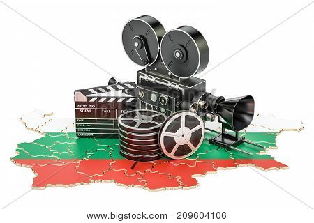 Bulgarian cinematography film industry concept. 3D rendering isolated on white background