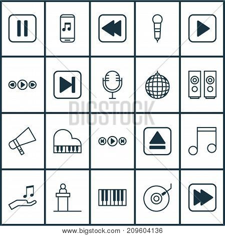 Music Icons Set. Collection Of Mute Song, Audio Buttons, Piano And Other Elements
