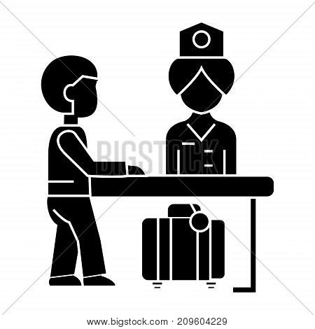 hotel reception, receptionist at the table  icon, vector illustration, black sign on isolated background