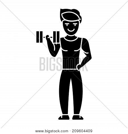 man strong doing exercises with weights in gym  icon, vector illustration, black sign on isolated background