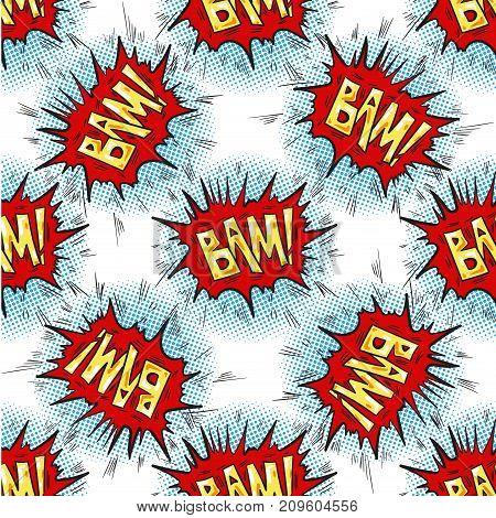 BAM word Multicolored comics speech bubbles seamless pattern vector