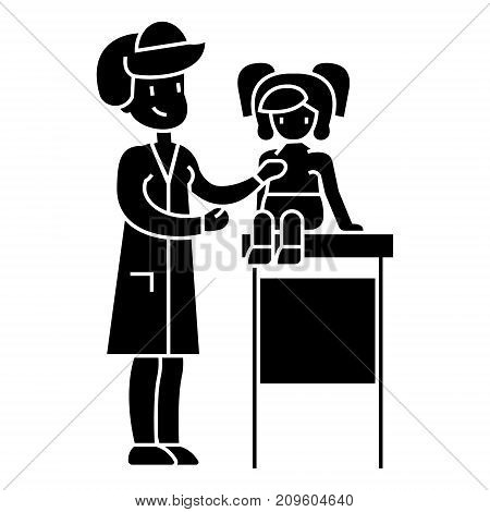 pediatrician doctor, medical examination of young baby with stethoscope  icon, vector illustration, black sign on isolated background