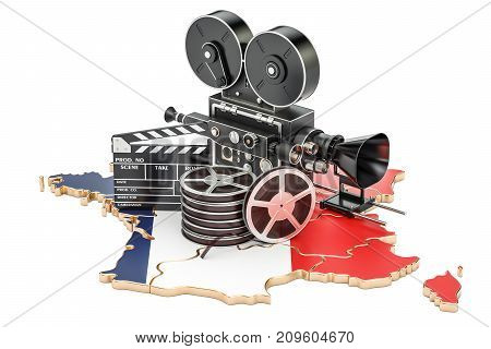 French cinematography film industry concept. 3D rendering isolated on white background