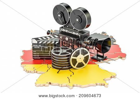 German cinematography film industry concept. 3D rendering isolated on white background