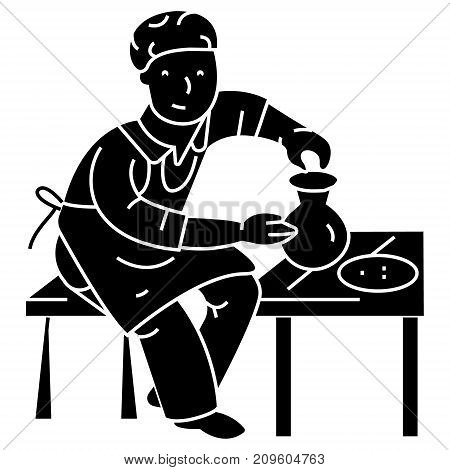 pottery, potter, ceramist  icon, vector illustration, black sign on isolated background