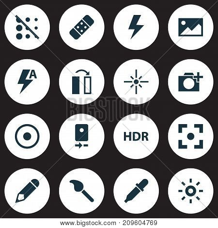Image Icons Set. Collection Of Capture, Pen, Paintbrush And Other Elements