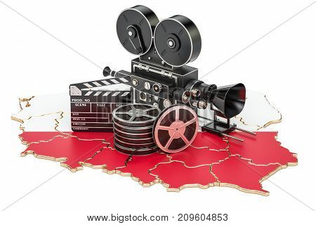 Polish cinematography film industry concept. 3D rendering isolated on white background