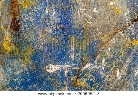 Distress painted wooden background. Grunge messy texture for your design.