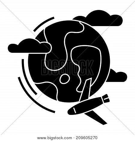 travel around the world global tour, airplane  icon, vector illustration, black sign on isolated background