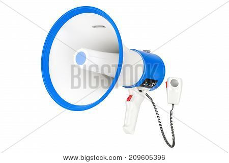 Professional megaphone or bullhorn with siren and handheld mic 3D rendering isolated on white background
