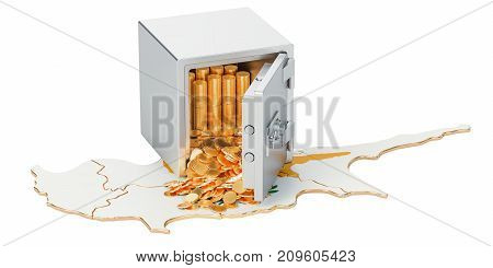 Safe box with golden coins on the map of Cyprus 3D rendering isolated on white background