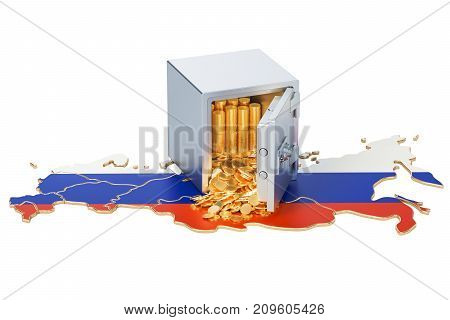 Safe box with golden coins on the map of Russia 3D rendering isolated on white background
