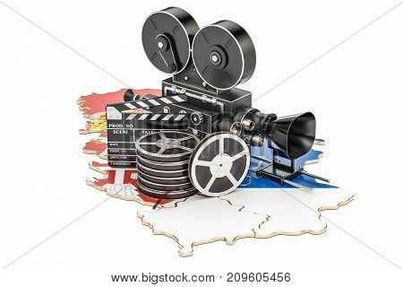 Serbian cinematography film industry concept. 3D rendering isolated on white background