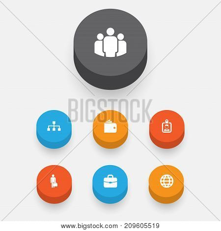 Job Icons Set. Collection Of Group, Id Badge, Suitcase And Other Elements