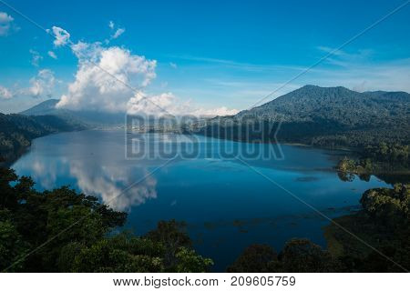 Beatiful view over the lake. Lake and mountain view from a hill, Buyan Lake, Bali