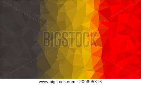 Belgium flag low poly style. Yellow red black