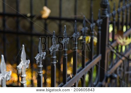 Old rusty metal fence  - selective focus