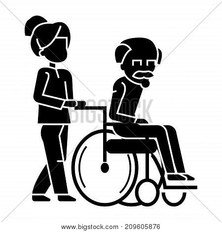 young woman, social worker strolling with elder man in wheelchair  icon, vector illustration, black sign on isolated background