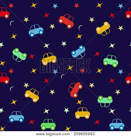 Seamless baby pattern with cars on blue background.