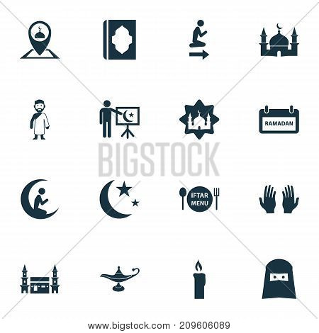 Ramadan Icons Set. Collection Of Pinpoint, Building, Nacht And Other Elements
