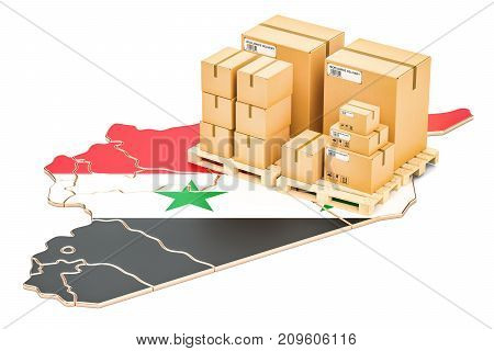 Shipping and Delivery from Syria isolated on white background