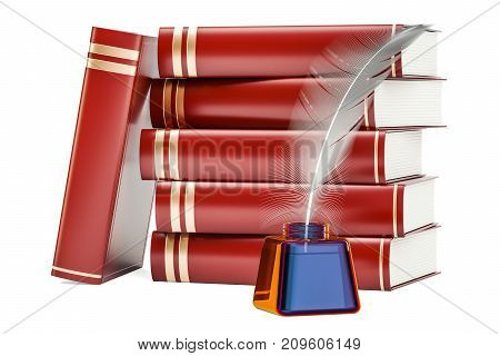 Stack of books with feather and ink bottle 3D rendering isolated on white background