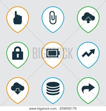 Interface Icons Set. Collection Of Increase, Db, Charge And Other Elements