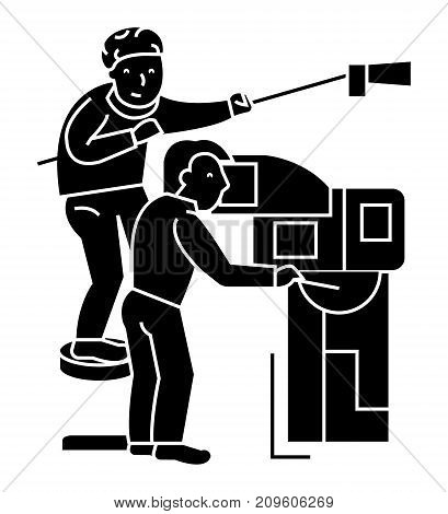television, tv broadcast, film crew, film shooting  icon, vector illustration, black sign on isolated background