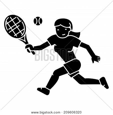 tennis championship, woman   icon, vector illustration, black sign on isolated background