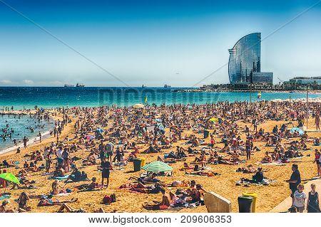 A Sunny Day On The Barceloneta Beach, Barcelona, Catalonia, Spain