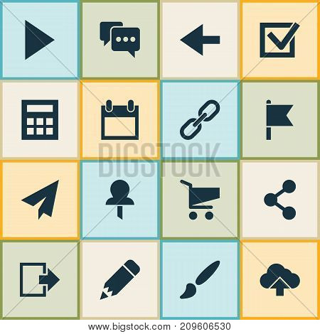 Interface Icons Set. Collection Of Date, Backward, Shopping And Other Elements