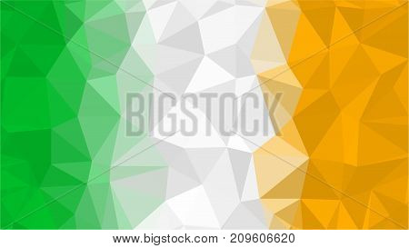Official national flag of Ireland, vertical tricolor. Stylized polygonal triangle background of flag of Ireland, low poly illustration