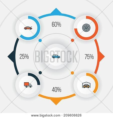 Automobile Colorful Outline Icons Set. Collection Of Drive, Bonnet, Van And Other Elements