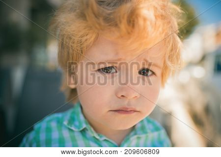 Sad Child Face, Emotions And Experiences. Children's Frustration, Frustrated Boy 3 Years Old. Sad Ey