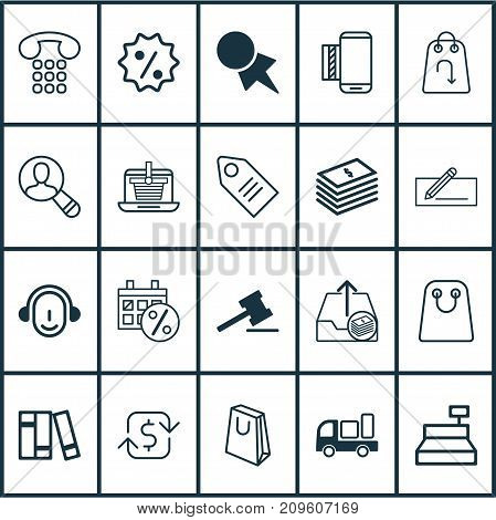 Ecommerce Icons Set. Collection Of Dollar Banknote, Gavel, Bookshelf And Other Elements
