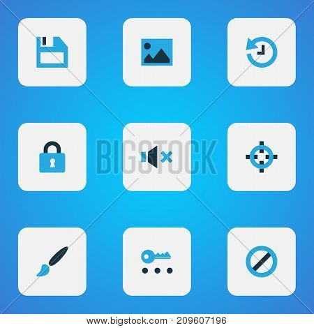 User Colorful Icons Set. Collection Of Painting, Key, Forbidden And Other Elements