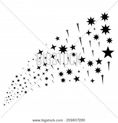 Stream of confetti stars symbols. Vector illustration style is flat black iconic confetti stars symbols on a white background. Object fountain organized from pictographs.