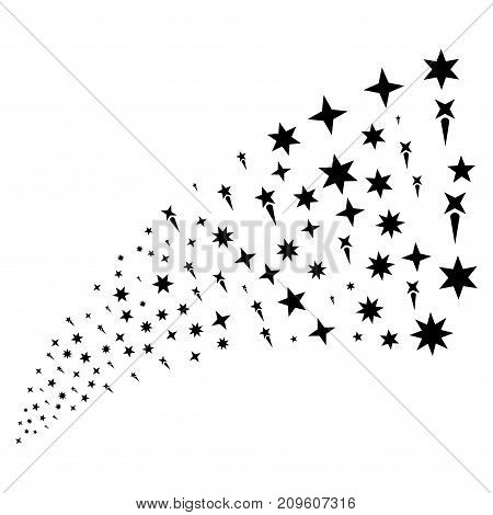 Stream of confetti stars symbols. Vector illustration style is flat black iconic confetti stars symbols on a white background. Object fountain constructed from symbols.
