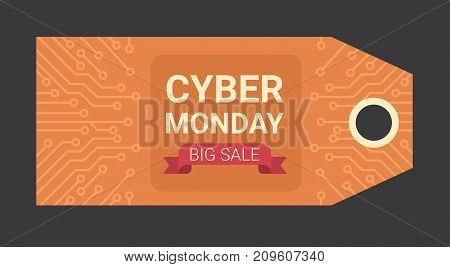 Cyber Monday Horizontal Tag Motherboard Design Over Black Background, Big Sale Technology Online Event Concept Vector Illustration