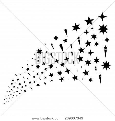 Source stream of confetti stars symbols. Vector illustration style is flat black iconic confetti stars symbols on a white background. Object fountain done from design elements.