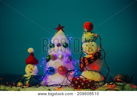 Congratulate You Christmas And New Year. Cheerful Emotions From Snow Sculpture. Greeting Card To Fam