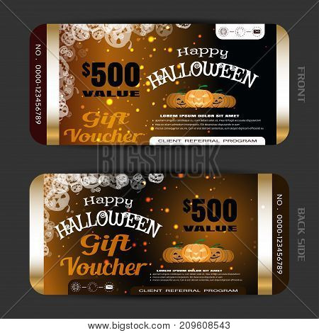 Vector gift voucher to Happy Halloween holiday with group of pumpkin metal stripes sparkles on the gradient dark brown background.