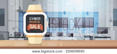 Cyber Monday Sign On Smart Watch Monitor Big Sale Banner Background Design Vector Illustration
