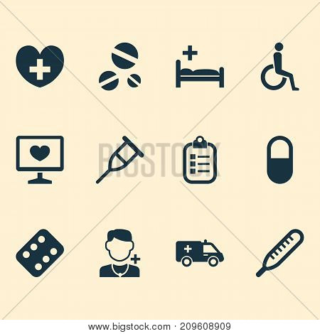 Medicine Icons Set. Collection Of Stand, Pellet , First-Aid Elements