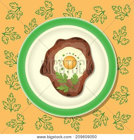 Fried Meat With Egg And Parsley On The Plate