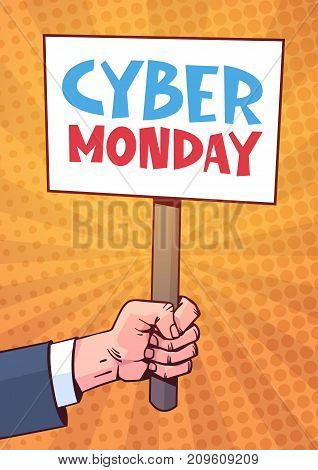 Hand Holding Banner With Text Cyber Monday Over Pin Up Style Background, Sale Deals Design Online Holiday Shopping Concept Vector Illustration